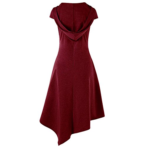 Hem Lrregular Casual Hooded Dress Red Summer Backless Sexy Cotton Solid HGWXX7 Women 7Up6wqYq0