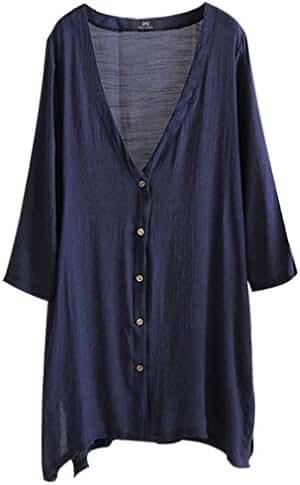 East Castle Women's Casual Linen Comfort Buttons up Plus Size Long Blouses