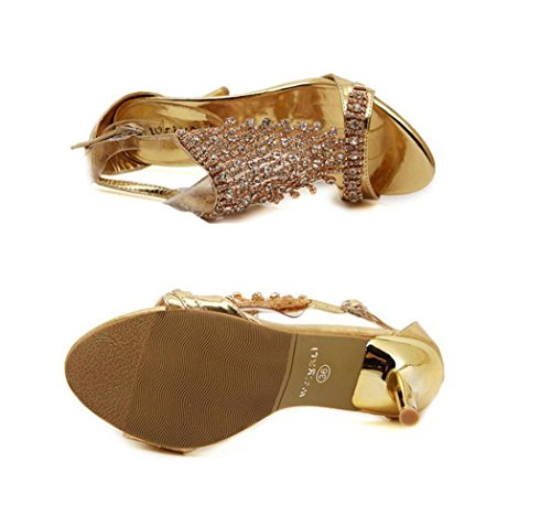 WSK Women's Golden Rhinestone Sandals High-heeled shoes with open-toe shoes Buckle Women's Ultra High-heeled shoes gold Aw5et