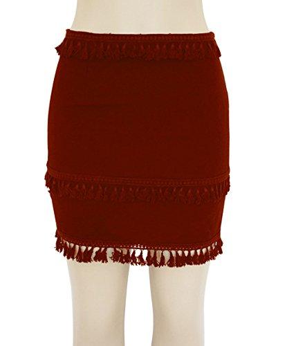 orange Plage Slim Rouge Couleur Jupe Jupes Mode Fte t Casual Legendaryman Jupe Hanche Houppe Ceremonie Mini Soire Ajoure de Package Femmes Unie de TwH4q1Y4B