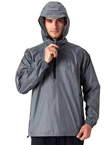 Naviskin Men's Waterproof Rain Jacket Packable Outdoor Hooded Raincoat Poncho