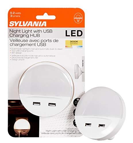 SYLVANIA 60143 LED Nightlight with 2 USB Ports Night Light, White