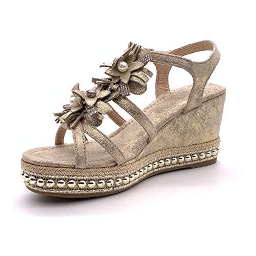 ba7e6d90fa Compensé Femme Diamant Talon Romantique Mule Plateforme Chaussure Sandale  Fleurs Perle Doré Ouvert Mode Angkorly Strass PcqwOpZTg