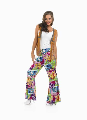 [Ladies Hippie Patterned Flares Costume for 60s Hippie Flower Power Fancy Dress Small by Fun Shack] (Fancy Dress Flower Power)