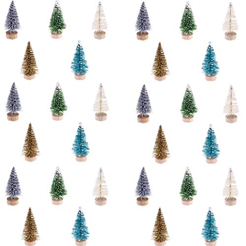 Haiabei 60 Pcs Mini Christmas Tree Bottle Brush Trees Plastic Sisal Trees with Wood Base for DIY Crafting,Displaying and Desktop Home Decoration Christmas Decoration,5 Colors
