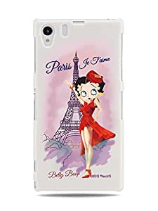 GRÜV Premium Case - 'Paris Je T'aime by Betty Boop' Design - Best Quality Designer Print on White Hard Cover - for Sony Xperia Z1 L39h 6902 6903 6906
