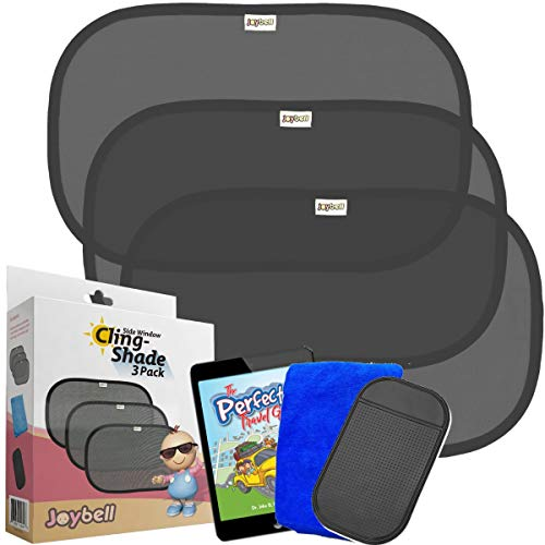 Car Side Window Sun Shades for Baby Pets Kids | Screens & Blocks 98% UV Light and Heat | Premium 80GSM | Plus No-Slip Cell Phone Pad | Plus Cleaning Cloth | Plus eBookPerfect Traveling Games
