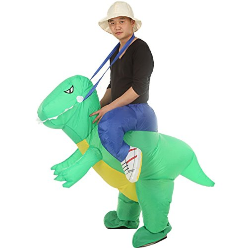 Qshine Inflatable Rider Costume Riding Me Fancy Dress Funny Dinosaur Dragon Funny Suit Mount Kids Adult (Child, Green) -