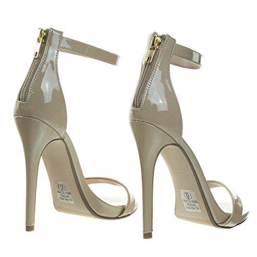 Delicacy High Heel Stiletto Open Toe Dress Sandal w Ankle Strap Beige Patent 2pTXspk3m