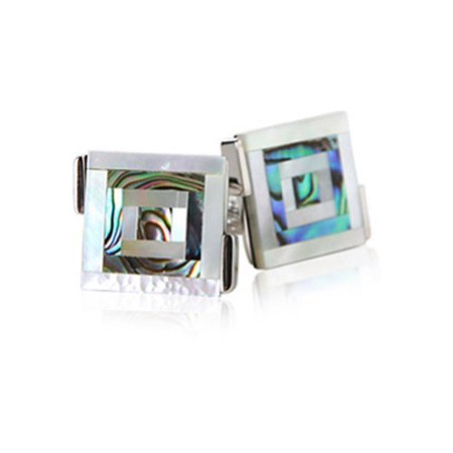 Abalone Bulls Eye Cufflinks By Jewelry (Abalone Designer Cufflinks)