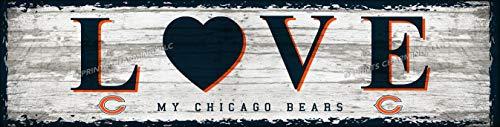 Photo File Chicago Bears Love Wall Poster, Sports Bar Unframed Print Decor 6