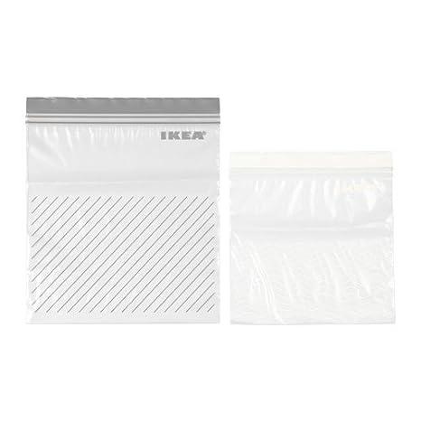 2 x paquetes IKEA, juego de 100 bolsas para congelar; pueden abrirse varias veces, blanco, 50 bolsas 1,2 l, 50 bolsas 2,5 l; gris.