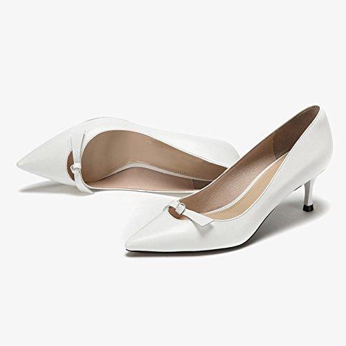 De UK 4 Bow Party 6cm Cour Talons Femme Travail Discothèque Peau Chaussures WeddingDaphne Hauts 5 Mode Sexy Mouton EU White en De Noir 37 qBS7w6S1
