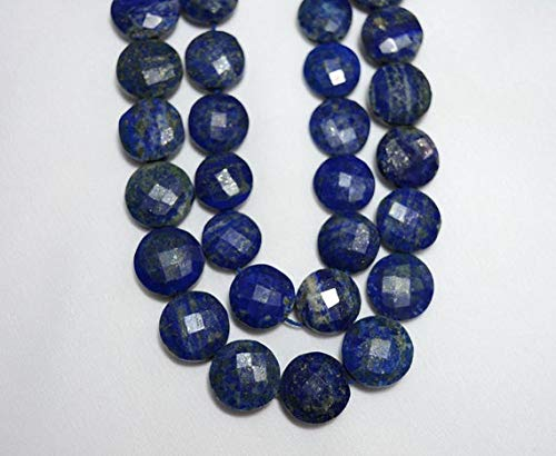 GemAbyss Beads Gemstone Strand Lapis Lazuli Gemstone, Coin Shape, Faceted Coin Shape Gemstone for Jewelry, Briolette Beads, 14mm Appros 5 Inch Strand Code-MVG-24377 ()