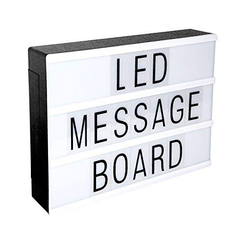 Cine Caja de Luz Letras, LED Cinema Light letras Box, A4 Cinematográfica Light up Box con 90 Letras, Símbolos y Emojis para Decoración Vintage en ...
