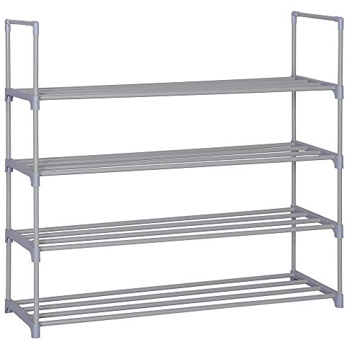 - Home-Like 4-Tier Shoe Rack DIY Shoe Rack Tower Metal Storage Rack 20 Pairs Shoes Organizer Stackable Shoe Shelves Metal Shoe Stand in Black for Entryway Closet 35.6''W x 12''D x 33.27''H (Grey)