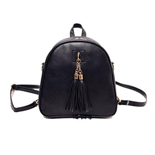 Black Fashion Tassel Women Backpack Widewing Mini Leather PU Bag Shoulder Handbag Rwvd7g7q