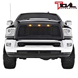 Tidal Replacement Ram ABS Upper Grille Front Hood Grill - Matte Black - With Amber LED Lights for 13-18 Dodge Ram 2500 3500 Heavy Duty