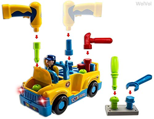 WolVol Truck Tools Toy Equipped with Electric Drill and Various Tools, Lights and Music, Bump and Go Action, will go by its own and change directions on contact from WolVol