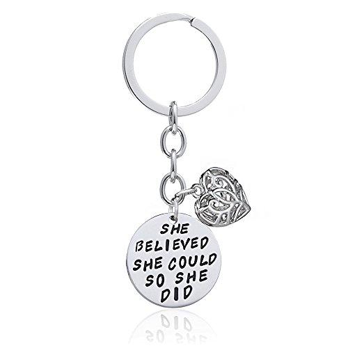 Double Pendant Key Chain Ring Love Heart Women Girl Gift - She believed she could so she -