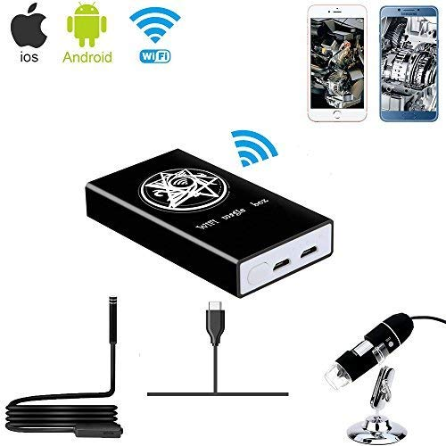 Jiusion Wireless WiFi Box Compatible with iPhone iPad Android Phone Tablet, Micro USB/USB to WiFi Converter for USB Digital Microscope Endoscope Borescope Mini Magnification Camera
