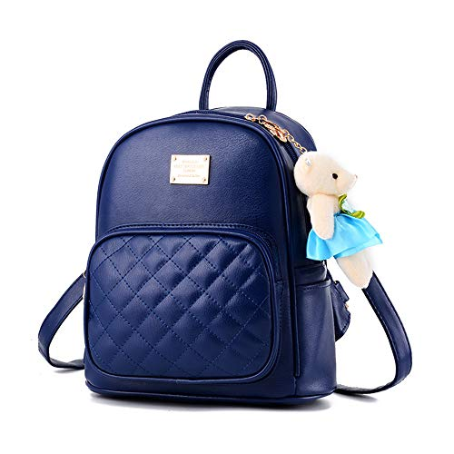 Girl with Bow Cute Leather Backpack Mini Backpack Wallet (Blue-1)