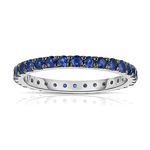 Noray Designs 14K White Gold Blue Sapphire Eternity Ring (1 cttw) - Blue Sapphire Eternity Ring