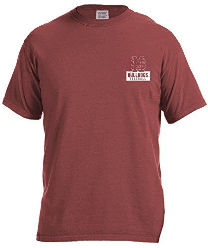(NCAA Mississippi State Bulldogs Vintage Baseball Flag Short Sleeve Comfort Color T-Shirt, Large,Brick)