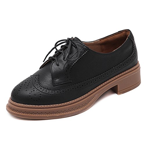 CYBLING Fashion Lace Up Round Toe Women Oxford Shoes For Walking Black NC4jY