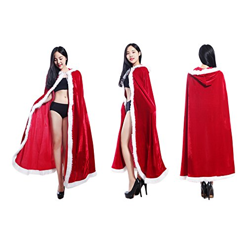 [IDS Home Deluxe Women Christmas Cape Mrs Santa Claus Cloak Hooded Suit Fancy Dress Costume Outfit] (Mrs Claus Costume Makeup)