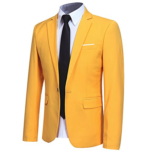 (YFFUSHI Men Slim Fit One Button Blazer Jacket Casual/Party Sport Coat,Yellow,Medium)