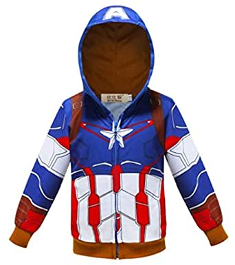 Toddler Boys Hoodies Jacket Superhero Zipper Spring Coat for Kids 1-7 Years (5-6 Year, 1)