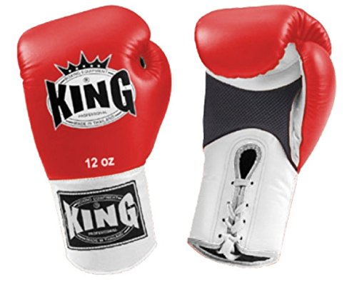 KING Premium Leather Boxing Gloves Air Lace-Up (Dual Color: White/Red/White) 16 oz ()