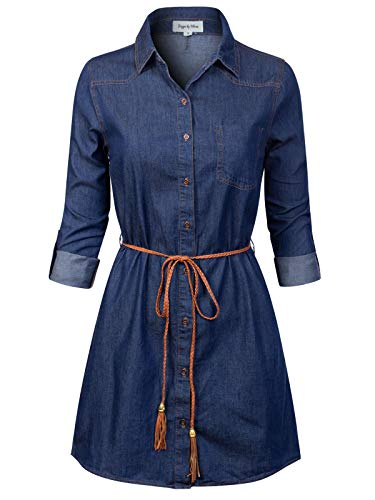 Design by Olivia Women's Vintage Button Down Chambray Long Denim Shirt Tunic Dress Super Dark Denim L
