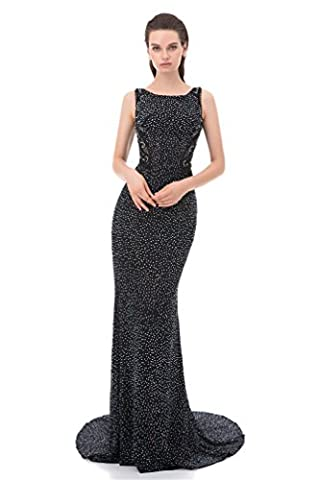 LiCheng Bridal Sparkly Full Beaded Sleeveless Mermaid Long Evening Party Gowns Prom Dresses With Sweep Scoop Neck - Full Sweep Gown