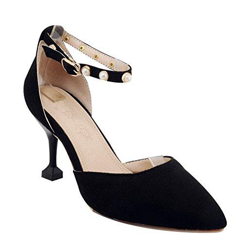 Carolbar Women's Fashion Grace Beaded High Heel Buckle Court Shoes Black