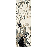 Safavieh Bella Collection BEL117A Handmade Modern Abstract Art Ivory and Grey Wool Runner (23 x 7)