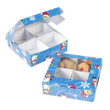 Four-Section Treat Boxes - Snowman - Christmas Party Supplies & Decorations & Party (Oriental Trading Christmas Costumes)
