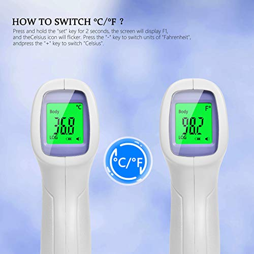XIQI Forehead Thermometer for Adults,Non-Contact Thermometer Indoor and Outdoor Use for Child,Accurate Digital Display for Fever Thermometer (Battery Included)