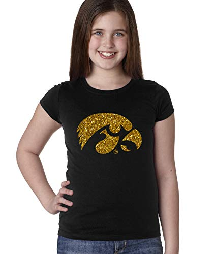 CornBorn Iowa Youth Girls Tee Shirt - Tigerhawk Logo in Gold Glitter - Black - Small