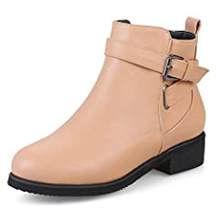 Women's Buckle Strap Inside Zip Up Stylish Round Toe Ankle Boots Booties Chunky Low Heel