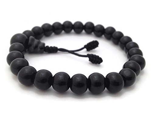 (Tibetan Black Onyx Stretch Wrist Mala Bracelet)