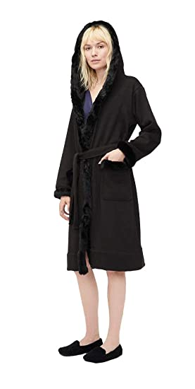 919e313a94 UGG Women s Duffield Deluxe II Robe Black Small  Amazon.co.uk  Clothing