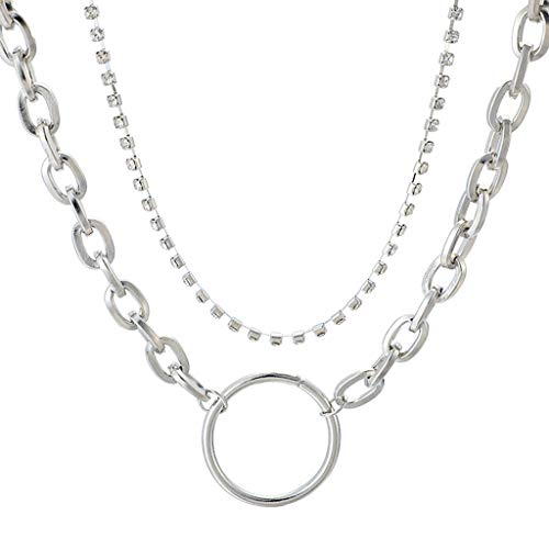 Double Layered Necklace,Haluoo Women Dainty Sterling Silver Plated Rhinestones Collar Necklace Hip Hop Silver Plated Simple Large Circle Pendant Necklace With Thick Chain For Men Rock Jewelry (Silver)