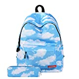Canvas School Backpacks,Colorful Girls'2 Set Backpacks,Fashion Backpack Colorful shopping Bags Travel Pack for Backpack Laptop Shoulder Bag Pencil Case(White clouds)Boens