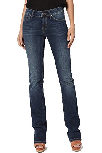 Dustin Clothes Mid Rise Slim Fit Bootcut Jeans With Stretch Dark Blue Soft Denim