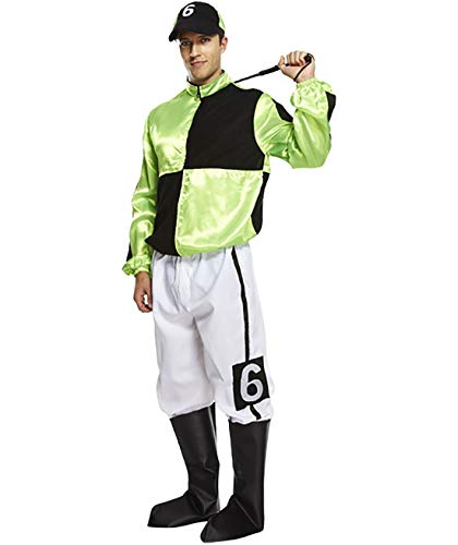 Rimi Hanger Adult Hard Rider Horse Jockey Mens Fancy Dress Stag Party Costume Outfit Green/Black]()