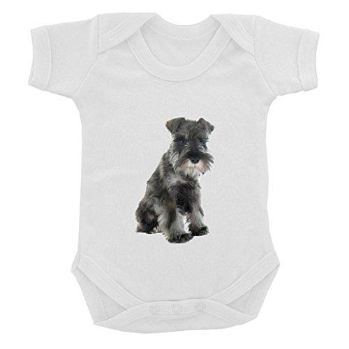 Giant Schnauzer Club - Schnauzer PUPPY Image Baby Bodysuit White with Black Print