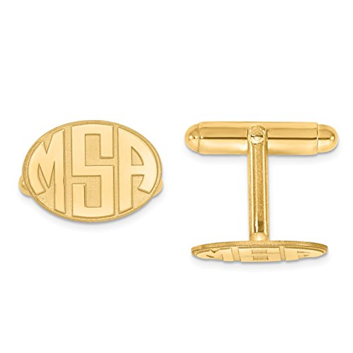 Roy Rose Jewelry Gold-plated Sterling Silver Raised Letters Oval Monogram Cuff Links - Personalized Custom Made (Sterling Cufflinks Personalized Oval Silver)
