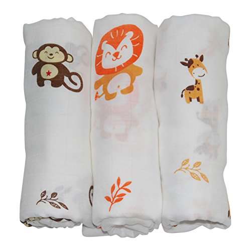 Animal Bamboo Infant Swaddle Blankets- Safari Friends -Monkey, Lion, Giraffe - Large Muslin Wraps Naturally Resist Germs - Miracle Worker for New Moms Wanting More Sleep -Baby Shower Gift Registry!
